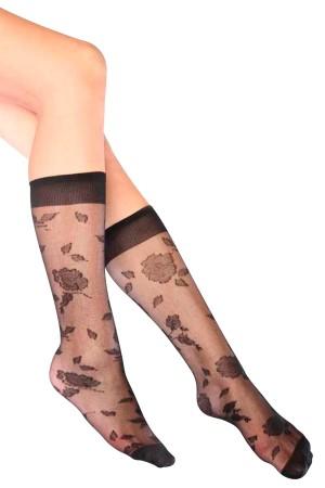 Garden Patterned Knee High Women's Socks Black