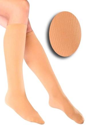 Ribbed Knee Length Nude Socks