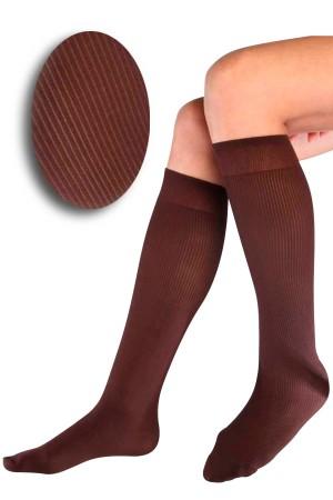 Ribbed Knee High Brown Socks