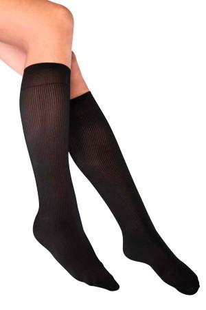 Ribbed Knee Length Black Socks
