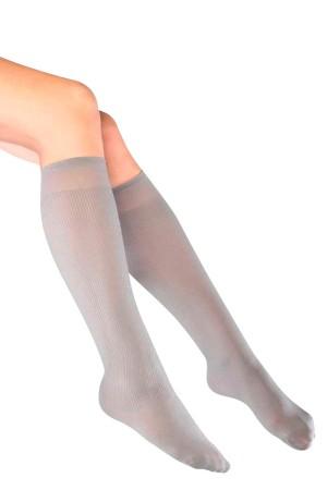 Fitilli Diz Altı Gri Çorap