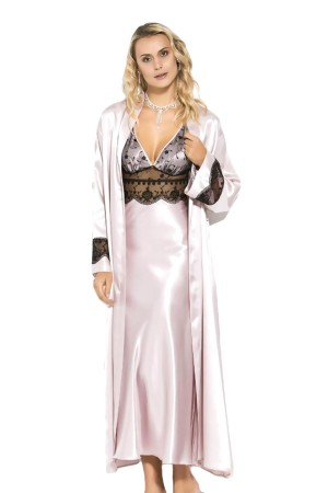 Satin Nightgown and Dressing Gown Ecru