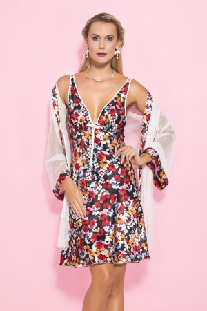 Women's Nightgown and Dressing Gown Floral Patterned