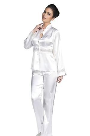 White Satin Nightgown Pajamas Set