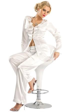 Sexy Satin Nightgown Pajamas Suit White