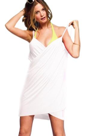 Women's Beach Dress White Short Pareo