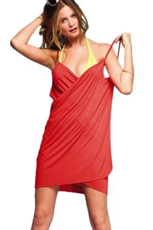 Women's Beach Dress Red Short Pareo