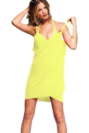 Women's Beach Dress Yellow Short Pareo
