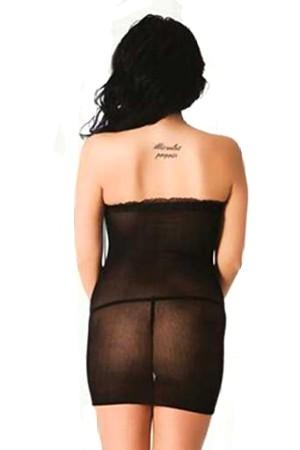 Black Body Stocking Wide Mesh Mini Dress