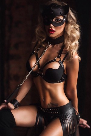 Pusy Cad Masked Black Leather Woman Costume