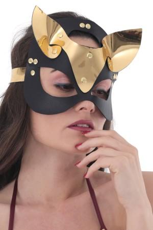 Gold Deri Kedi Kız Fantazi Maske