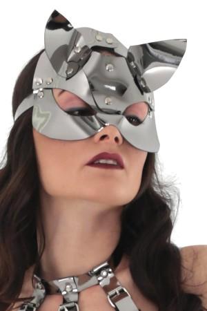 Silver Deri Kedi Kız Fantazi Maske