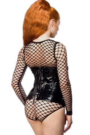 Leather Corset Spider Mesh Fancy Suit