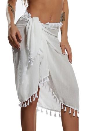 Tasseled White Pareo Beach Wear