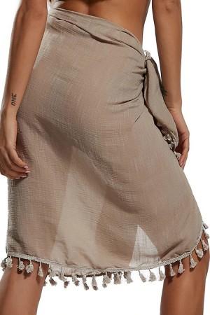 Tasseled Brown Pareo Beach Wear