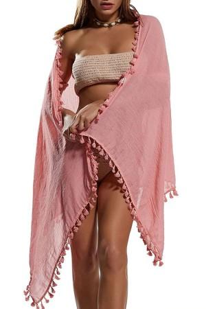 Tasseled Pink Pareo Beach Wear