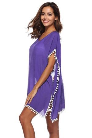 Beach Dress Pompom Pareo Lilac