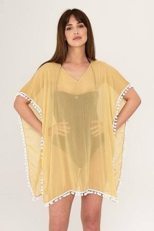 Yellow Pareo Sexy Beach Dress With Pompom