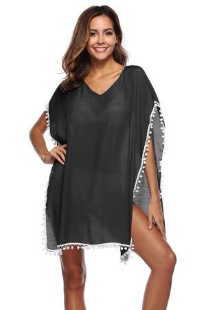 Black Beach Dress Pompom Pareo