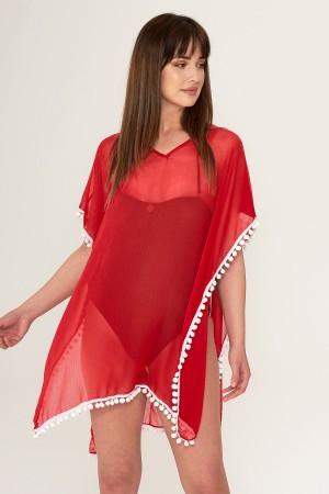 Red Pareo Pompom Beach Dress