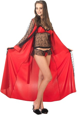 Red Dressing Gown Nightgown Thong Set