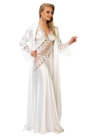 Satin Ecru Nightgown Negligee Lacy Luxury Set