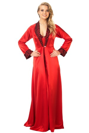 Satin Dowry Suit Red Nightgown and Dressing Gown