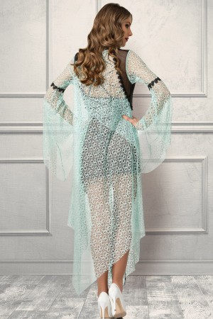 Green Nightgown and Dressing Gown French Lace Set