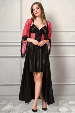 Knitted Lace Nightgown Dressing Gown Satin Set