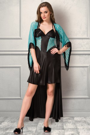 Green Lace Satin Nightgown and Dressing Gown