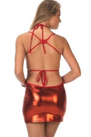Red Leather Dress Low Cut Fancy Wear