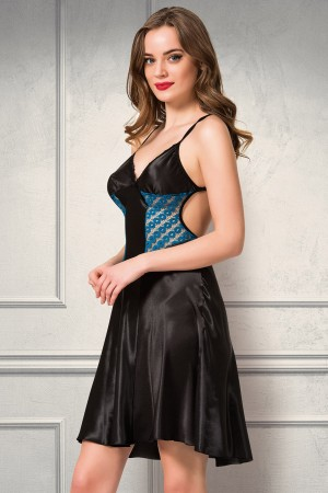 Satin Nightgown Dressing Gown Turquoise Lace Luxury Set