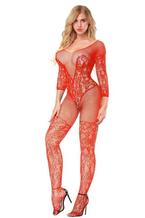 Red Body Stocking Lace Pattern Laser Cut