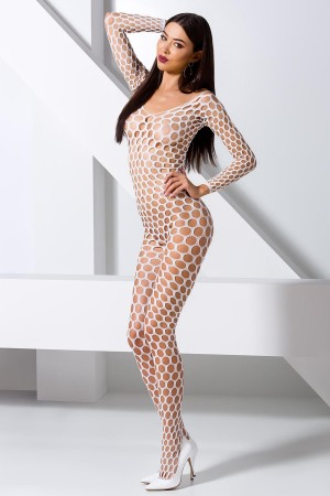 Sexy Body Stocking Wide Mesh White Fancy Dress