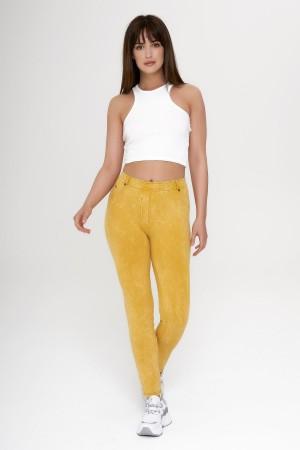 Women's Denim Look Yellow Leggings