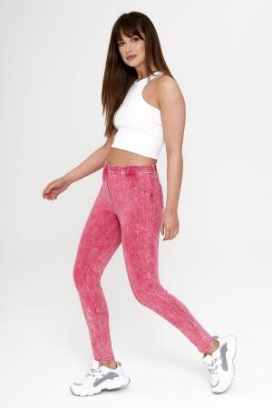 Women's Pink Denim Look Leggings