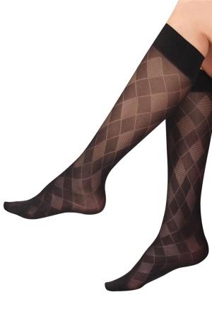 Plaid Knee High Socks Black