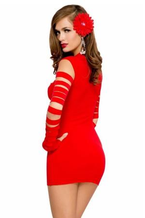 Sexy Dress Laser Cut Red