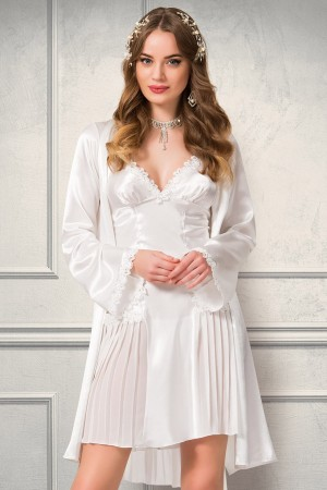 Pleated Nightgown Dressing Suit Ecru