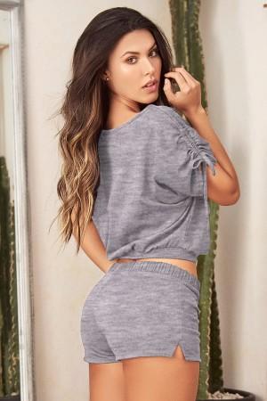 Shorts Bustier Pajamas Set Gray