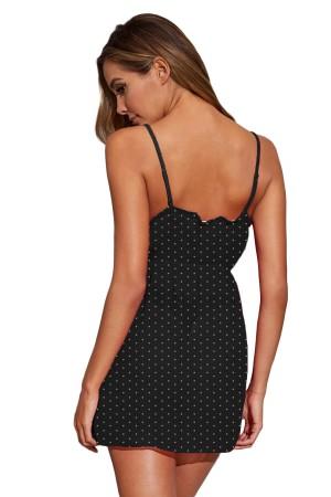 Women's Nightgown Polka Dot Black