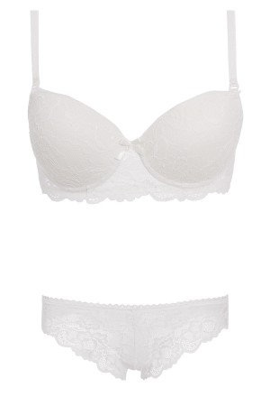Bra String Set White Lace Filling Supported