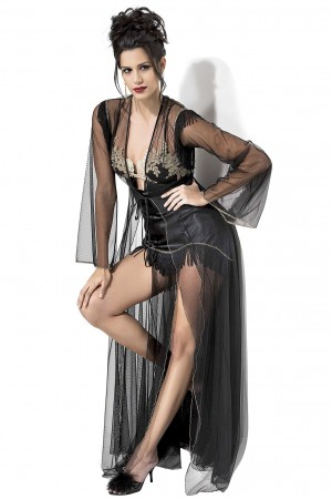 Nightgown and Dressing Gown 2 Piece Set Lace Embroidered