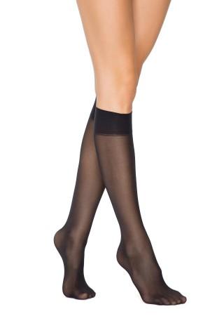 Women's Black Opaque Half Low Knee Thin Socks