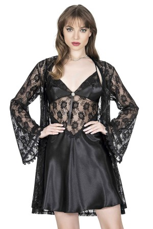 Women's Nightgown Dressing Gown Lace Satin Black Set