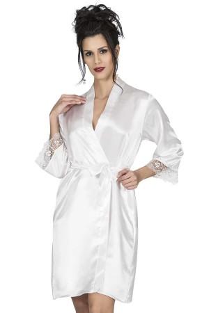 Women's Dressing Gown Ecru Satin