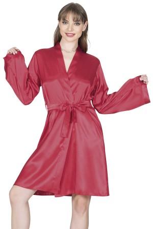 Women's Dressing Gown Claret Red Satin