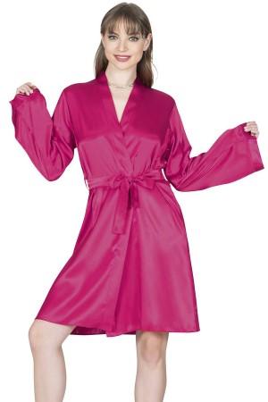 Women's Dressing Gown Fuchsia Satin