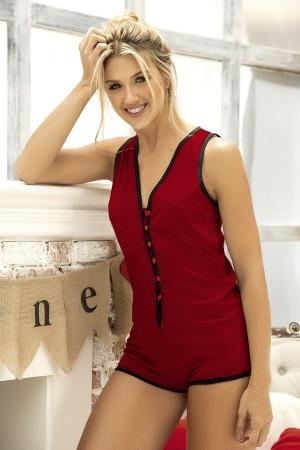 Women's Pajama Jumpsuit Claret Red