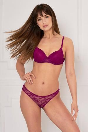 Women's Fuchsia Lace Bra Panty Set